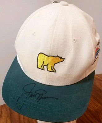 Jack Nicklaus autographed Golden Bear logo golf cap or hat