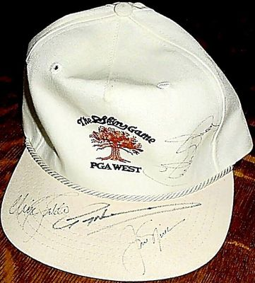 Jack Nicklaus Nick Faldo Greg Norman Curtis Strange autographed 1990 Skins Game PGA West golf cap or hat