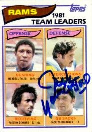 Jack Youngblood autographed Los Angeles Rams 1982 Topps card