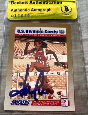 Jackie Joyner-Kersee autographed 1992 Snickers U.S. Olympic card (BAS authenticated)