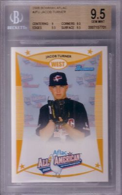 Jacob Turner 2008 AFLAC Bowman Rookie Card graded BGS 9.5 GEM MINT