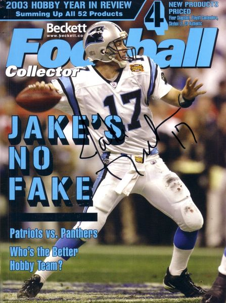Jake Delhomme autographed Carolina Panthers Beckett Football cover