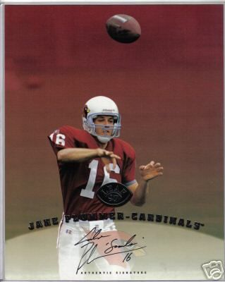 Jake Plummer certified autograph Arizona Cardinals 1997 Leaf 8x10 photo card