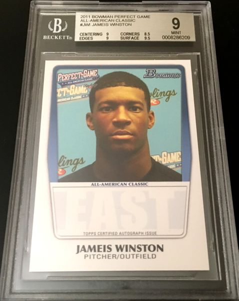 Jameis Winston 2011 Perfect Game Topps Bowman Rookie Card graded BGS 9 MINT