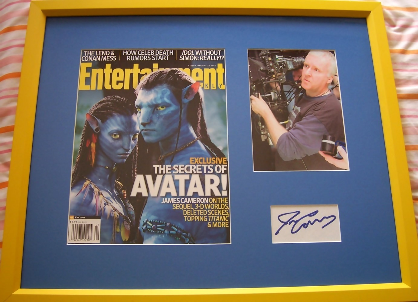 James Cameron autograph matted and framed