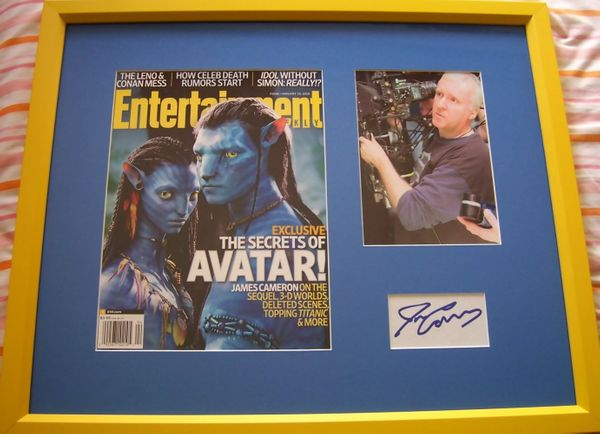 James Cameron autograph matted and framed with Avatar movie magazine cover and 5x7 photo