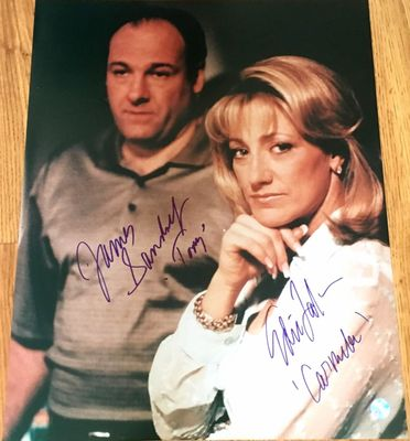 James Gandolfini and Edie Falco autographed Sopranos 16x20 poster size photo inscribed Tony and Carmela