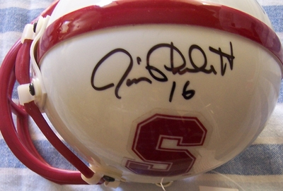 James Lofton & Jim Plunkett autographed Stanford Cardinal mini helmet