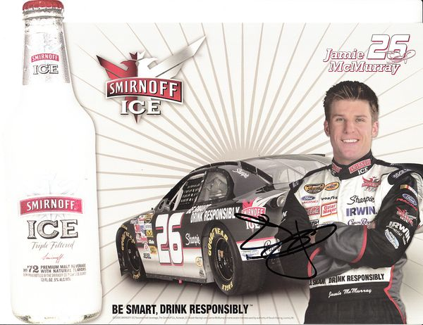 Jamie McMurray autographed Smirnoff Ice NASCAR photo card