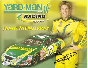 Jamie McMurray autographed Yard-Man Racing NASCAR photo card (JSA)