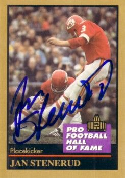Jan Stenerud autographed Kansas City Chiefs Pro Football Hall of Fame card