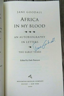 Jane Goodall autographed Africa In My Blood paperback book