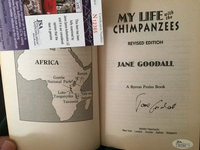 Jane Goodall autographed My Life with the Chimpanzees softcover book (JSA)