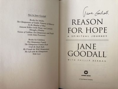 Jane Goodall autographed Reason for Hope hardcover book