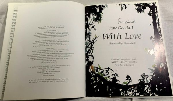 Jane Goodall autographed With Love hardcover children's book