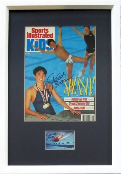 Janet Evans autographed Sports Illustrated for Kids cover and 1992 Classic World Class Athletes card matted and framed