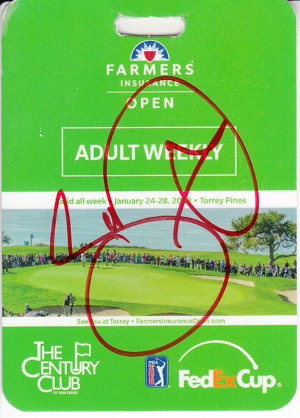 Jason Day autographed 2018 Farmers Insurance Open weekly badge