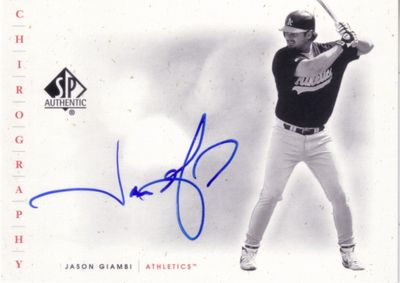 Jason Giambi Oakland A's certified autograph 2001 SP Authentic card