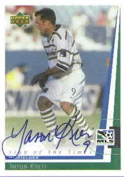 Jason Kreis certified autograph 1999 MLS Dallas Burn card