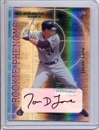 Jason Lane certified autograph Houston Astros 2002 Donruss card