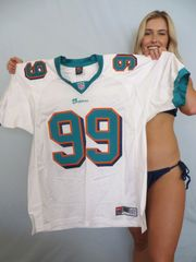 Jason Taylor Miami Dolphins authentic Nike game model 1999 or 2000 white triple stitched jersey