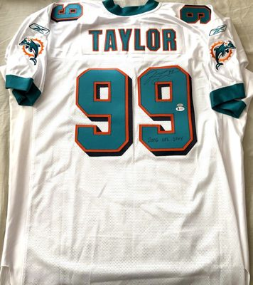 Jason Taylor autographed Miami Dolphins authentic Reebok game model jersey inscribed 2006 NFL DPOY (BAS witnessed)