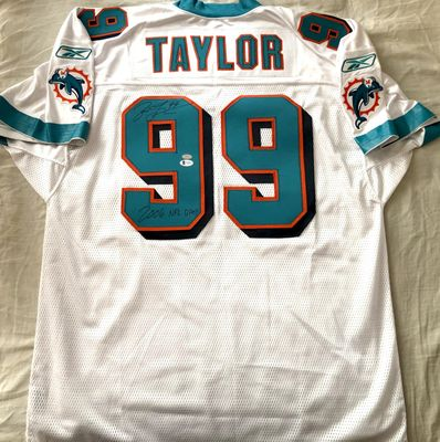 Jason Taylor autographed Miami Dolphins authentic Reebok jersey inscribed 2006 NFL DPOY (BAS witnessed)