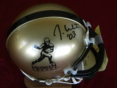 Jason White autographed Heisman Trophy logo mini helmet dated 03