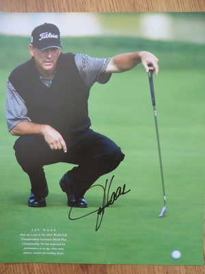 Jay Haas autographed 10x13 golf book photo