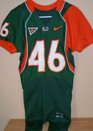 Jean Volcy Miami Hurricanes 2005 authentic Nike Revolution game worn green jersey