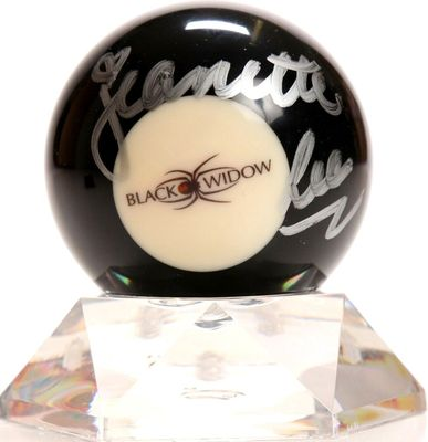 Jeanette Lee autographed Black Widow logo billiards 8 ball with lucite display stand