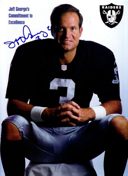 Jeff George autographed Oakland Raiders Beckett Football back cover photo