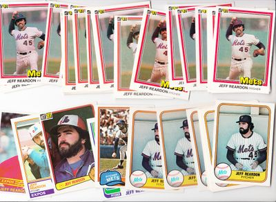 Jeff Reardon lot of 34 1981 Donruss Fleer Topps Rookie Cards