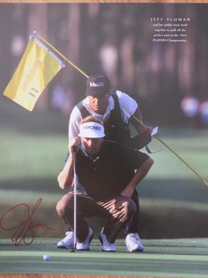 Jeff Sluman autographed 10x13 golf book photo