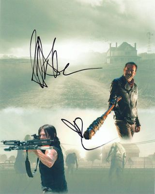 Jeffrey Dean Morgan and Norman Reedus autographed Walking Dead 8x10 montage photo