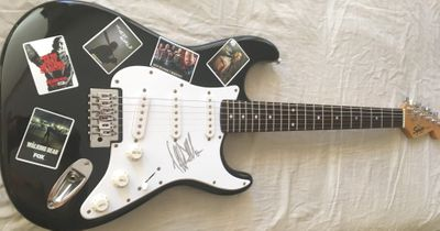 Jeffrey Dean Morgan autographed Walking Dead Negan Fender Squier Bullet black electric guitar