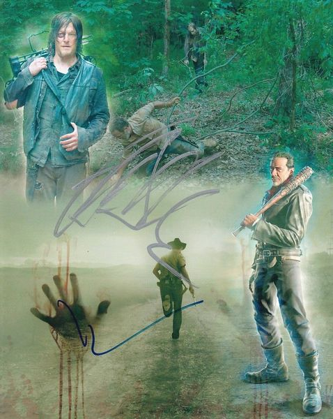 Jeffrey Dean Morgan and Norman Reedus autographed Walking Dead 8x10 montage photo #2