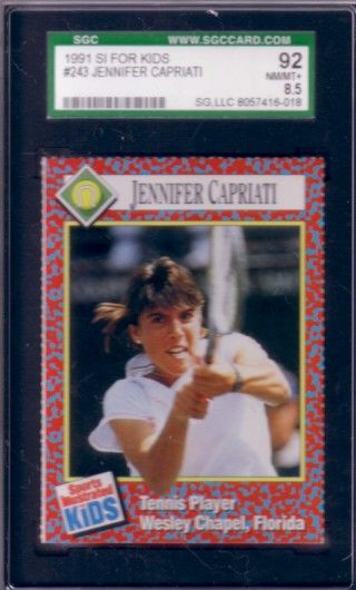 Jennifer Capriati 1991 Sports Illustrated for Kids tennis Rookie Card graded SGC 92 (NrMt-Mt+)