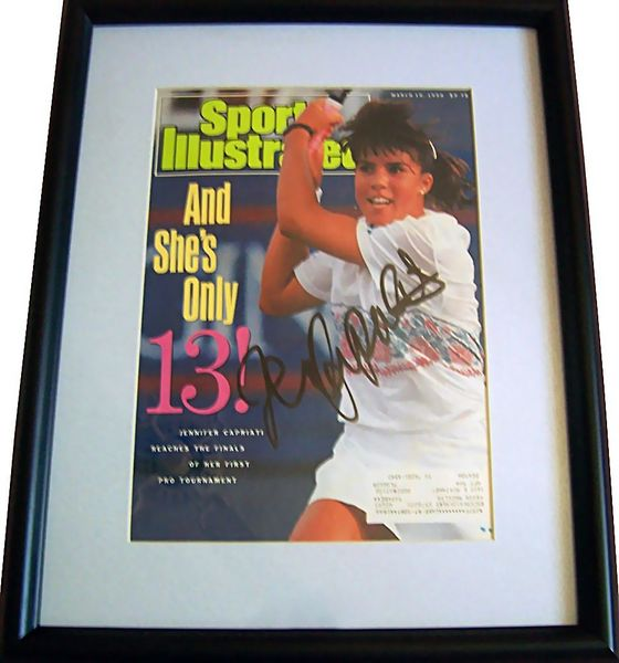 Jennifer Capriati autographed 1990 Sports Illustrated cover matted and framed
