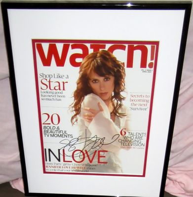 Jennifer Love Hewitt autographed 2007 Watch magazine cover matted and framed