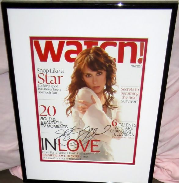 Jennifer Love Hewitt autographed 2007 magazine cover matted & framed