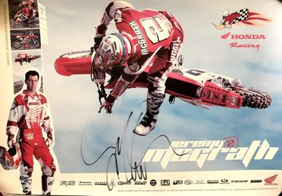 Jeremy McGrath autographed motocross or supercross 13x19 Honda Racing poster