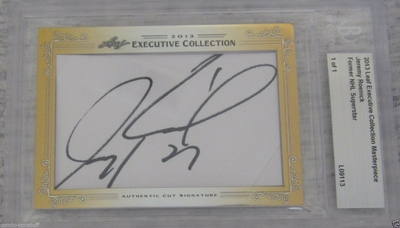 Jeremy Roenick 2013 Leaf Masterpiece Cut Signature certified autograph card 1/1 JSA