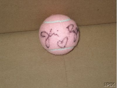 Jeri Ryan autographed pink tennis ball