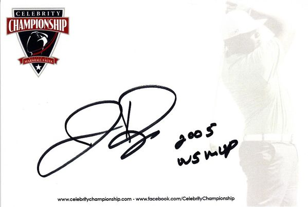Jermaine Dye autographed 4x6 signature card inscribed 2005 WS MVP