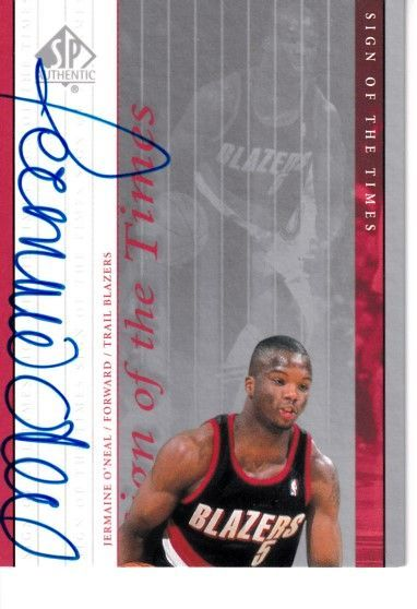 Jermaine O'Neal certified autograph Indiana Pacers 2000-01 SP Authentic card