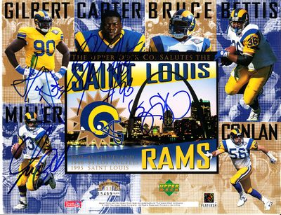 1995 St. Louis Rams autographed Upper Deck card sheet Jerome Bettis Kevin Carter Sean Gilbert Chris Miller