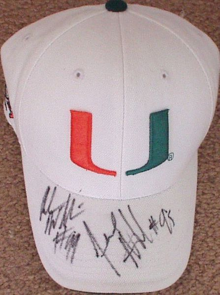 Jerome McDougle & Andrew Williams autographed Miami Hurricanes cap or hat