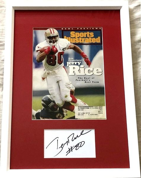 Jerry Rice autograph matted and framed with San Francisco 49ers 1994 Sports Illustrated cover