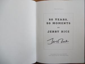 Jerry Rice autographed 50 Years 50 Moments Super Bowl hardcover book